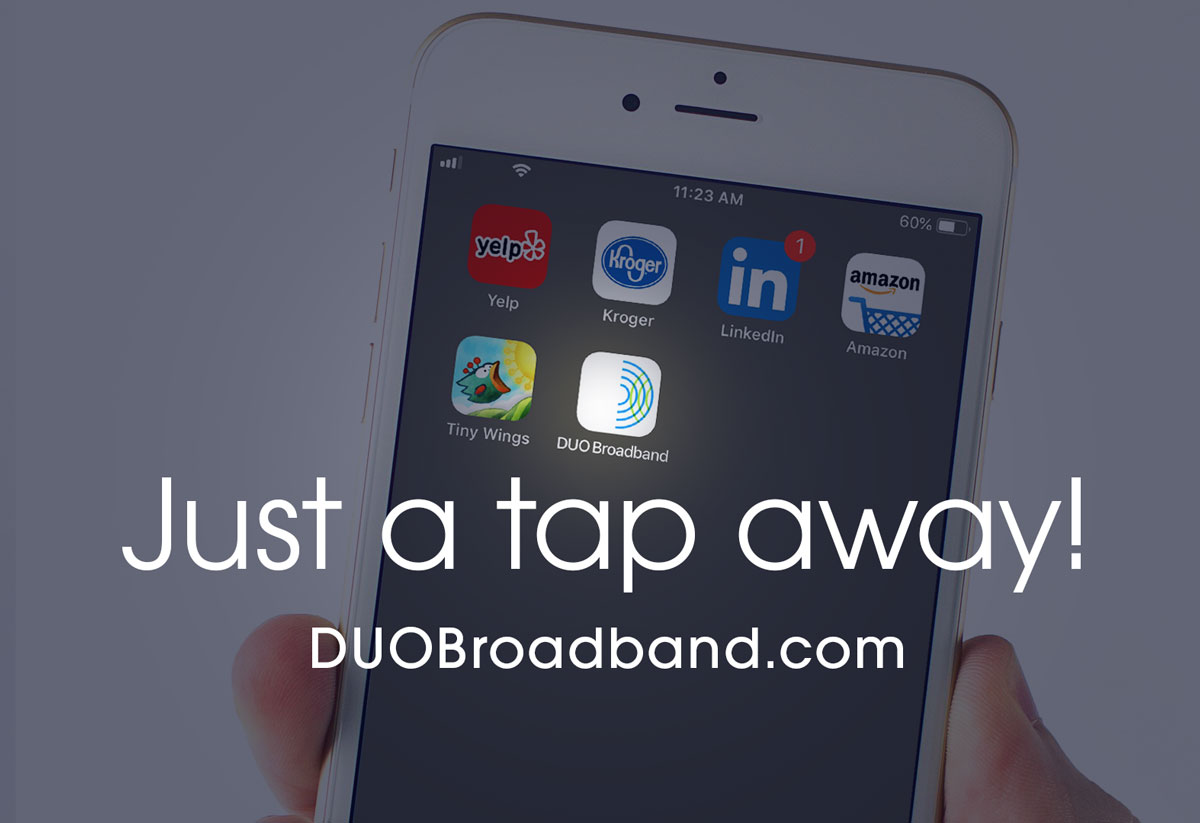 DUO Broadband website touch icon on smartphone.